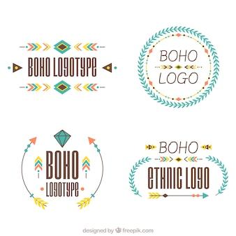 Seleção plano de logotipos étnica