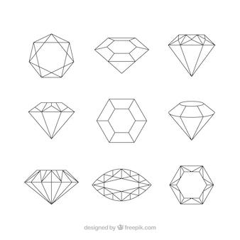 Seleção plano de pedras preciosas decorativos