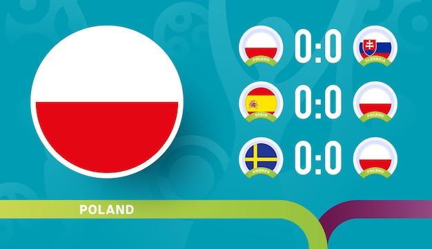 Seleção polonesa programa jogos da fase final do campeonato de futebol de 2020