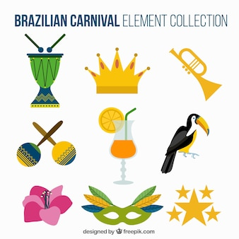 Selecção dos elementos de carnaval brasileiro em design plano