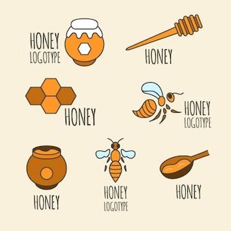 Selecção dos elementos de mel mão desenhada