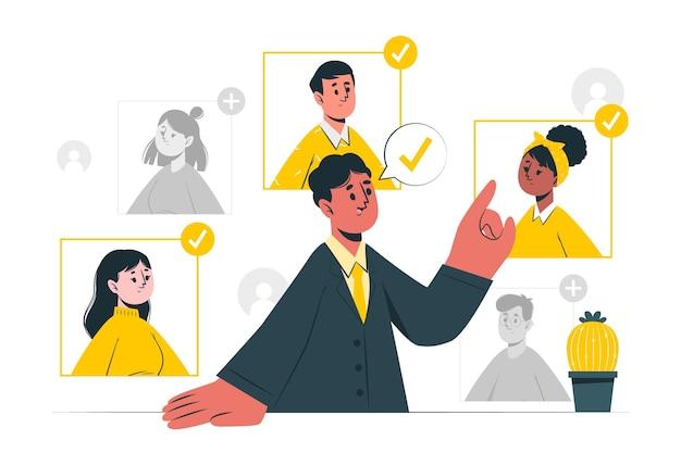 Selecionando ilustração de conceito de equipe