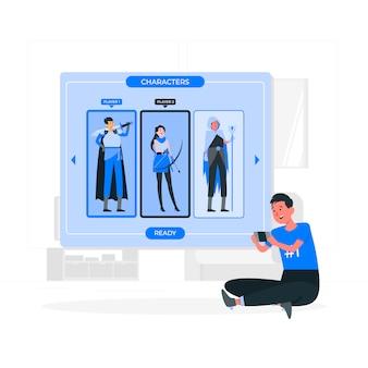 Selecione a ilustração do conceito do jogador