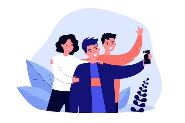 Selfie com ilustração de amigos