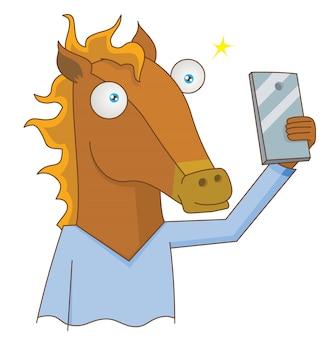 Selfie de cavalo humano usando smartphone
