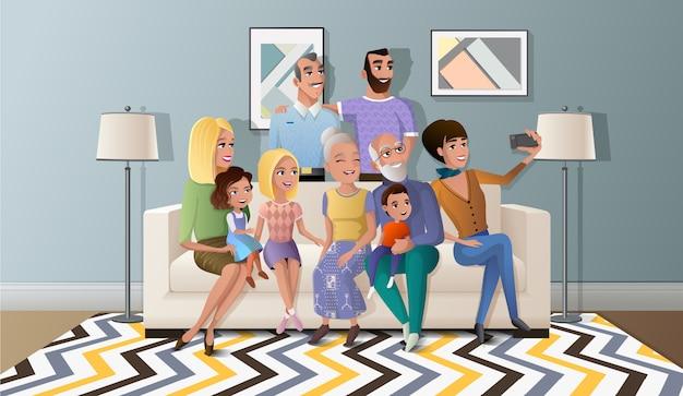 Selfie foto com vetor de família grande dos desenhos animados