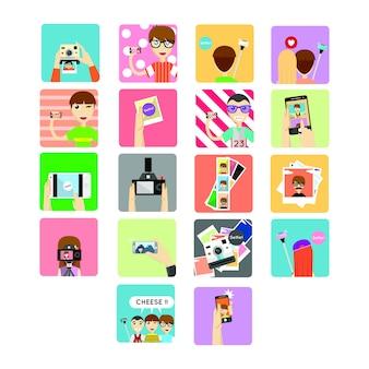 Selfie icon, ilustração
