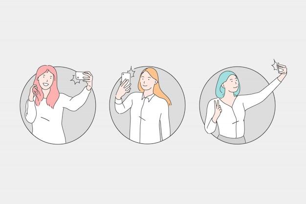 Selfie, jovens mulheres tirando fotos no conceito de várias poses