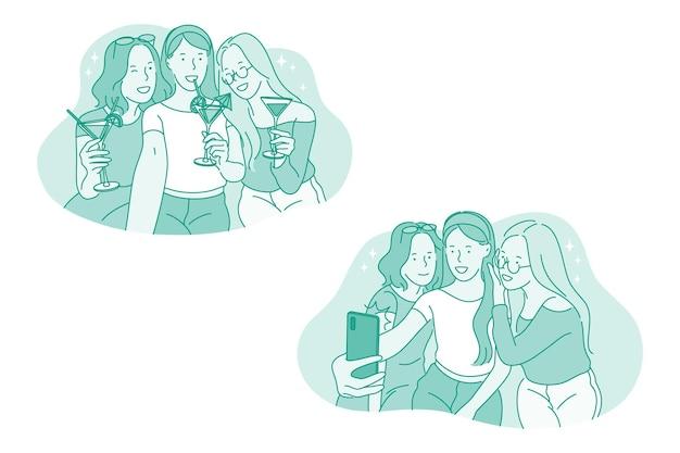 Selfie, smartphone, ilustração de festa