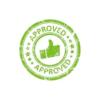 Selo aprovado verde com grunge