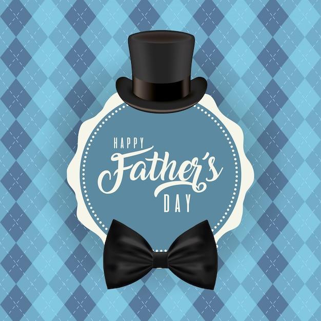 Selo carimbo com chapéu e gravata borboleta do dia dos pais