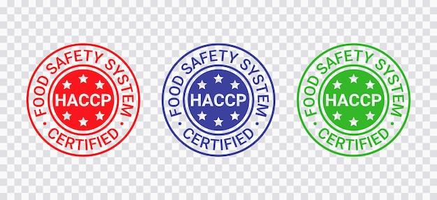 Selo certificado haccp. emblema redondo do sistema de segurança alimentar. análise de riscos impressão de selo de pontos críticos de controle