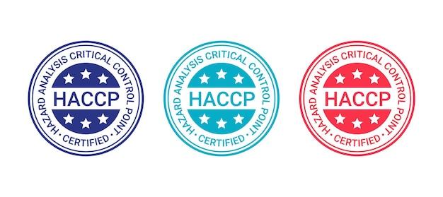 Selo certificado haccp. selo de garantia de qualidade. ilustração vetorial.