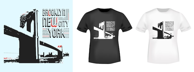 Selo de brooklyn new york e maquete de camisa de t