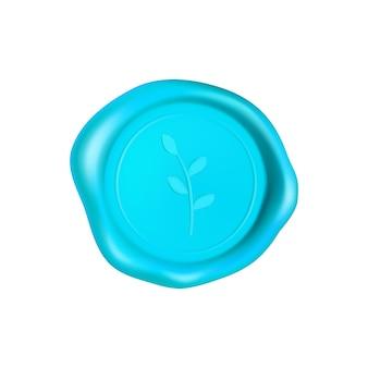 Selo de cera ciano com ramo. selo de selo de cera isolado no fundo branco. selo azul garantido realista. ilustração 3d realista.