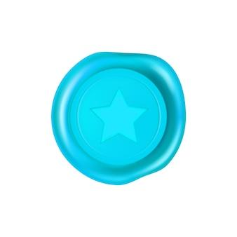 Selo de cera ciano com uma estrela no meio
