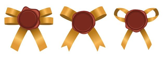 Selo de cera com conjunto de fita. objetos de carimbo de vela com ilustração vetorial de fitas de ouro. selos de cera isolados