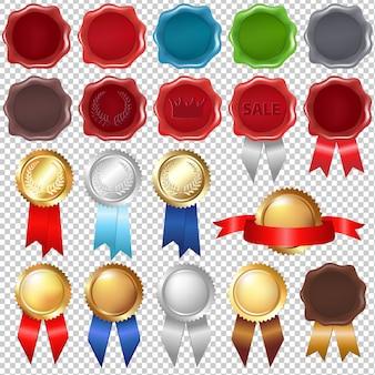 Selo de cera de coleção e fitas de prêmio