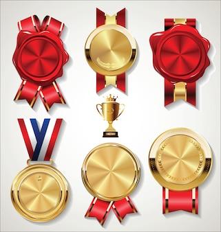 Selo de cera de selo vermelho com fita dourada isolada