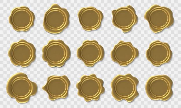 Selo de cera dourada. selo postal retrô envelope, selos de cera de aprovação real ouro premium e certificado de segurança e conjunto de ícones de diploma de elite