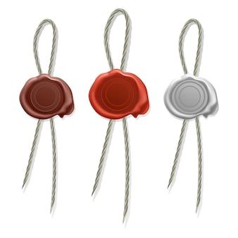 Selo de cera em branco com cordão, selo de cera de selo, conjunto de ícones de selos antigos e realistas de cera vermelho, branco e marrom