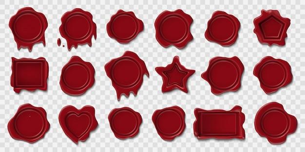 Selo de cera. selos postais de envelope em relevo, selo de cera de rolagem medieval, certificado de selo de segurança retrô. carimbo de carimbo em branco conjunto de ícones de ilustração