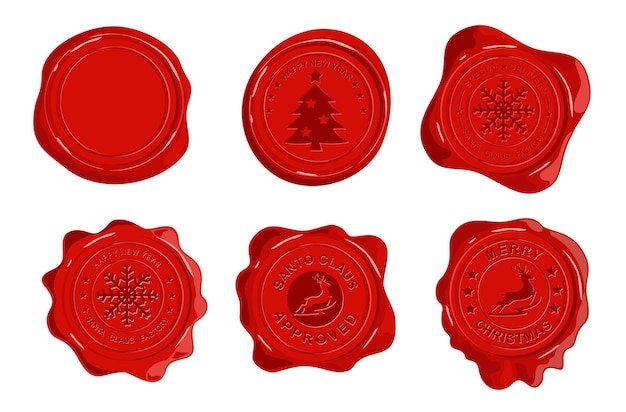 Selo de cera vermelha do correio oficial de papai noel isolado no fundo branco. entrega especial do pólo norte, feito na oficina do papai noel, carimbos vintage de borracha, etiquetas, conjunto de emblemas.