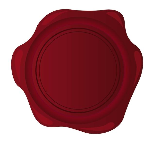 Selo de cera vermelha em branco isolado sobre o vetor de fundo branco