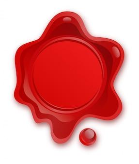 Selo de cera vermelha isolado no fundo branco. selo de cera de selo retrô e antigo. proteção e certificação, garantia e marca de qualidade. acordos de negócios. porte, correio.