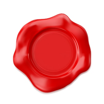 Selo de cera vermelha isolado no fundo branco.