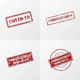Selo de coronavírus na cor vermelha
