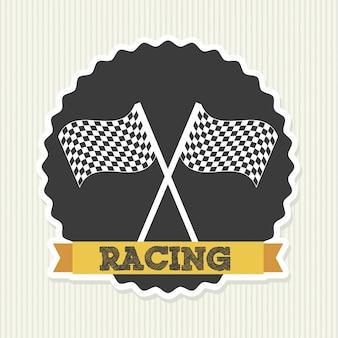 Selo de corrida sobre ilustração vetorial de fundo lineal