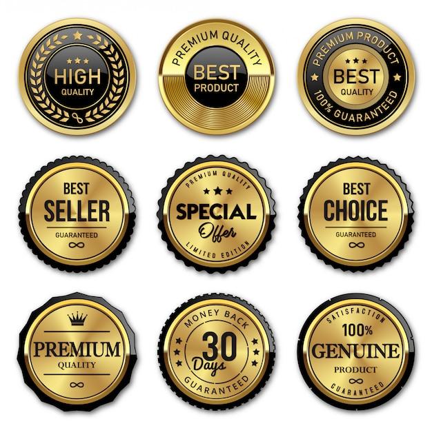 Selo de crachás de ouro e etiquetas de qualidade premium