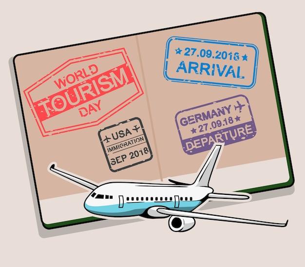 Selo de dia do turismo mundial no passaporte aberto.