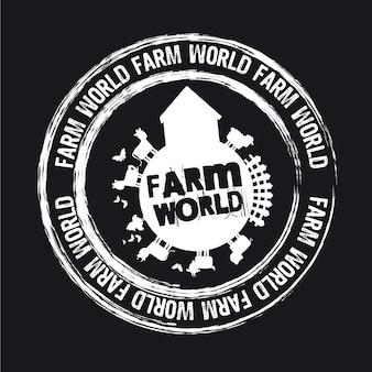Selo de fazenda mundo isolado sobre vetor de fundo preto