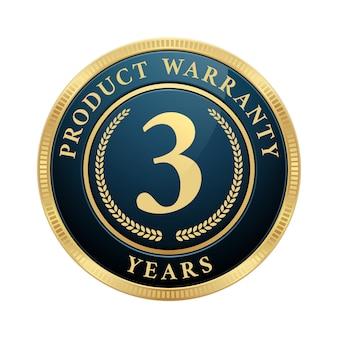 Selo de garantia de 3 anos com logotipo dourado metálico azul brilhante