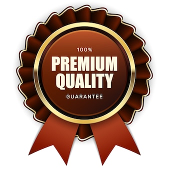 Selo de garantia de qualidade premium fita marrom dourado metálico logotipo de luxo