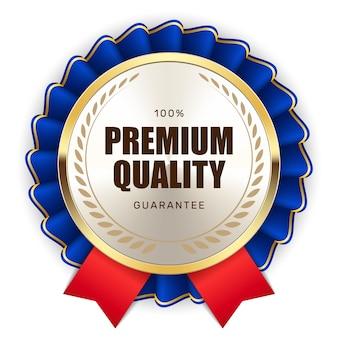 Selo de garantia de qualidade premium fita ouro prata metálico logotipo de luxo