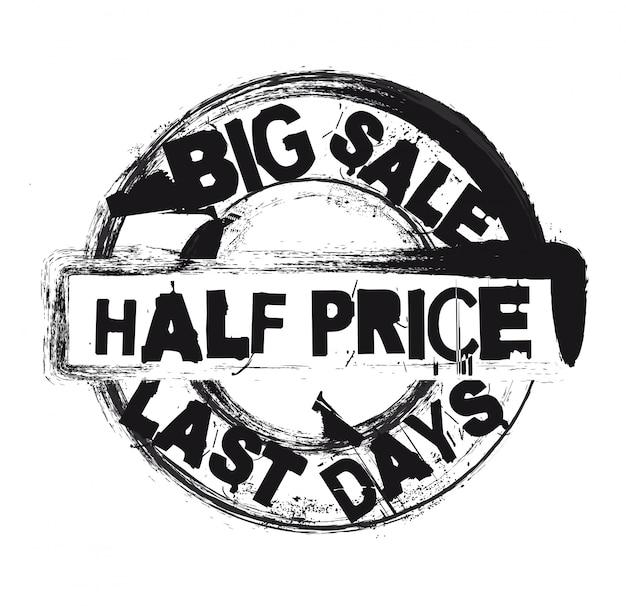 Selo de metade do preço preto isolado sobre o vetor de fundo branco