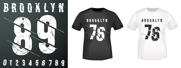 Selo de números do brooklyn e maquete de camiseta