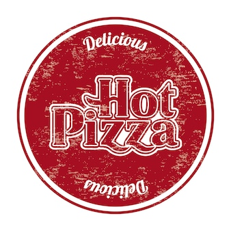 Selo de pizza quente sobre ilustração vetorial de fundo branco