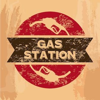 Selo de posto de gasolina sobre ilustração vetorial de fundo vintage