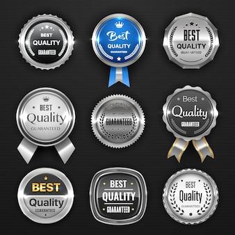 Selo de prata, medalha, prêmio, marca, crachá e etiquetas