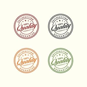 Selo de produto de natureza folha de qualidade garantida círculo ilustração vetor premium 100 por cento