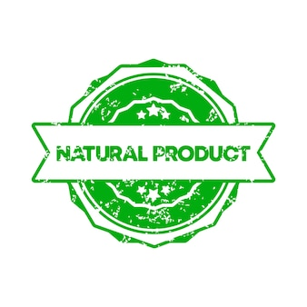 Selo de produto natural. vetor. ícone do emblema de produto natural. logotipo do crachá certificado. modelo de carimbo. etiqueta, etiqueta, ícones. produto natural sem ogm. vetor eps 10. isolado no fundo branco.