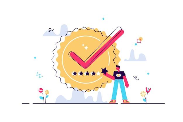 Selo de qualidade com certificado de produto premium