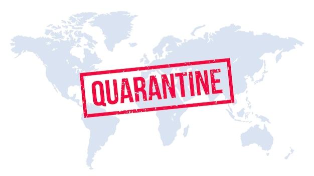 Selo de quarentena no mapa-múndi. infecção global, quarentena mundial, surto epidêmico, ilustração global de pandemia de coronavírus