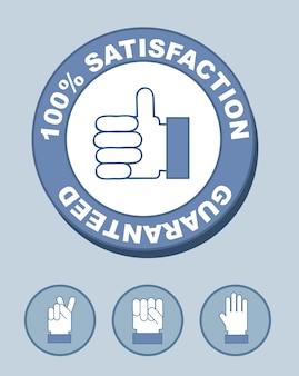 Selo de satisfação 100% com ilustração vetorial de mãos
