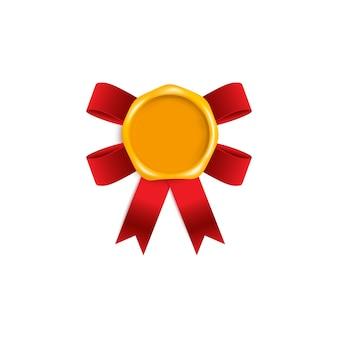 Selo de selo de cera amarelo dourado com fita de seda vermelha realista por baixo - modelo de insígnia vintage
