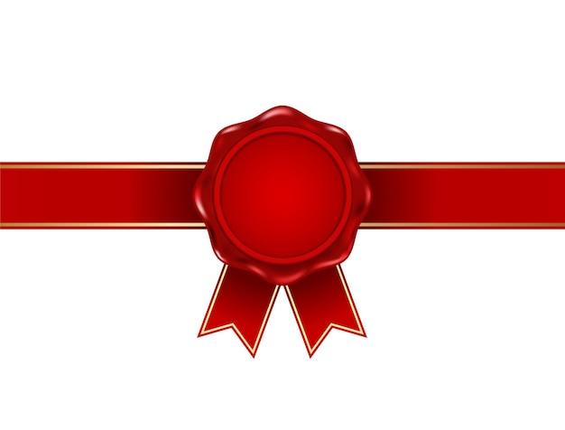 Selo de selo de cera vermelha com fita
